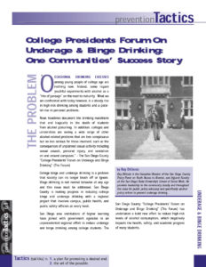 Binge On Story Success Underage One Drinking College amp; Community's Presidents Forum